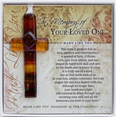 Memorial Sympathy Cross Handmade Glass