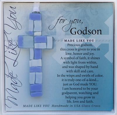 Godson Baptism Gift Handmade Glass Cross