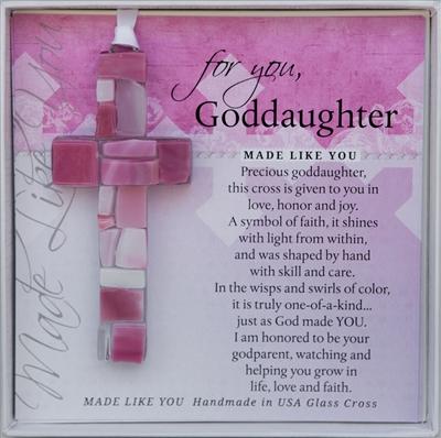 Goddaughter Baptism Gift Handmade Glass Cross